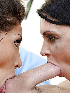 Сиськатые девушки принимают во рту фаллос друга